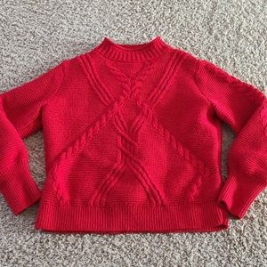 Banana republic cable knit mock neck red sweater M